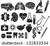 medical icon set (kidney, lungs, pharmacy snake symbol, first aid sign, pills illustration, tooth, stethoscope, brain, microscope, syringe, DNA strand, heart, ambulance van) - stock vector