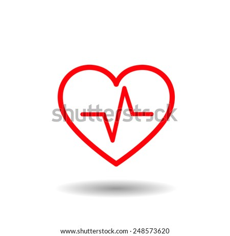 Medical icon set. Red lined heart with beat, pulse inside - stock vector