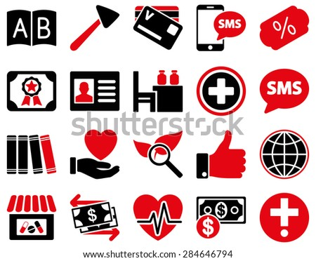 Medical icon set. Style: bicolor icons drawn with intensive red and black colors on a white background. - stock vector