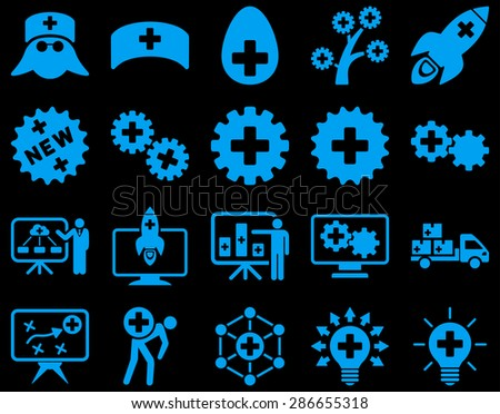 Medical icon set. Style: icons drawn with blue color on a black background.