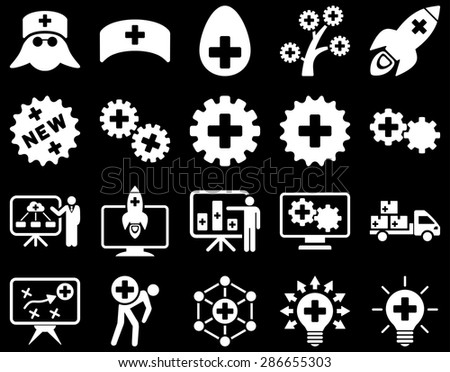 Medical icon set. Style: icons drawn with white color on a black background.