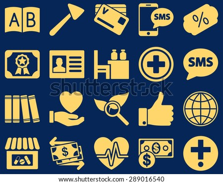 Medical icon set. Style: icons drawn with yellow color on a blue background. - stock vector