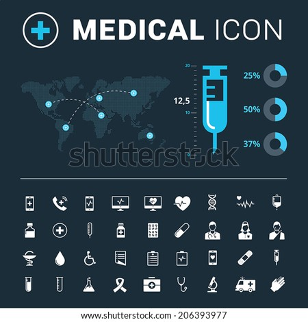 Medical icon set with big syringe and world map on dark background