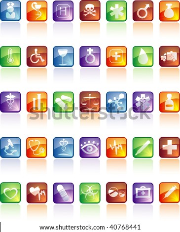 Medical icon set with reflection - stock vector