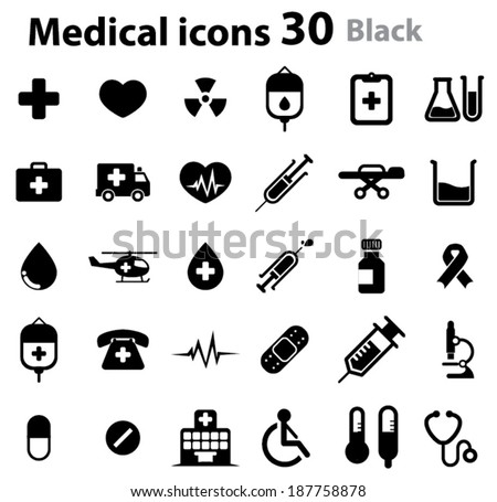 Medical Icons  - black - stock vector