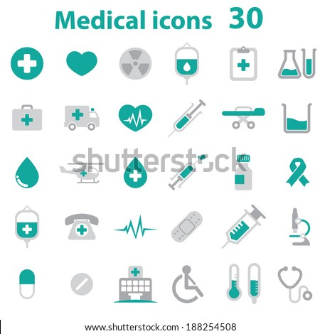 Medical Icons - color - stock vector