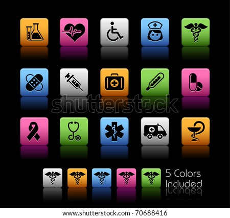 Medical Icons // Color Box -------It includes 5 color versions for each icon in different layers --------- - stock vector