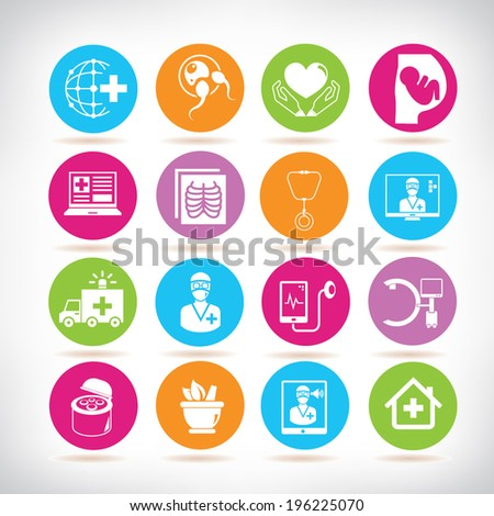 medical icons, colorful buttons - stock vector