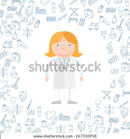 Medical icons doodle. vector illustration. - stock vector