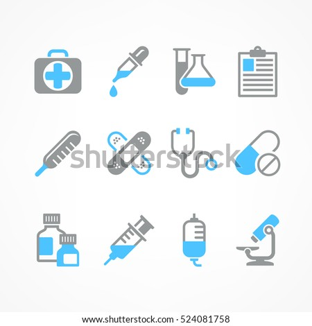 Medical icons on white background. Medicine symbols in blue. Vector illustration