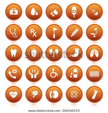 Medical icons orange botton set. vector illustration  - stock vector