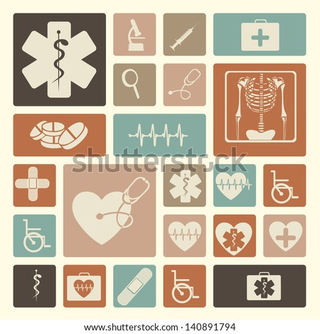 medical icons over pink background vector illustration - stock vector