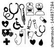 medical icons over white background vector illustration - stock photo