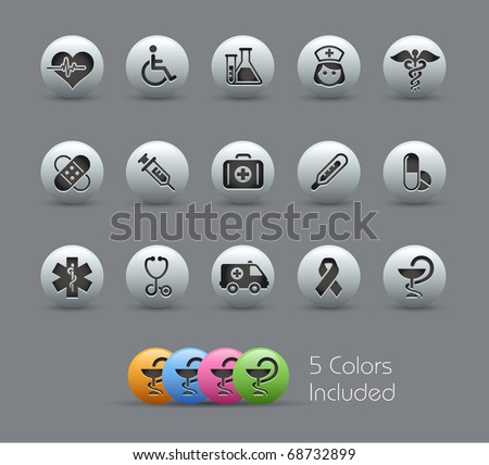 Medical Icons // Pearly Series -------It includes 5 color versions for each icon in different layers --------- - stock vector