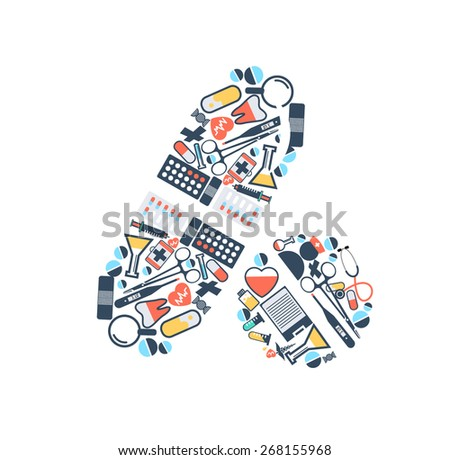 medical Icons pills with set of health vector design - stock vector