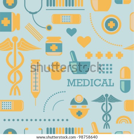 Medical Icons Seamless Background - stock vector