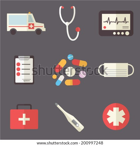 Medical icons set: ambulance and first aid. Healthcare infographic elements. Vector illustration made in flat design.  - stock vector