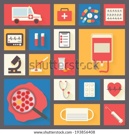 Medical icons set: ambulance, blood transfusion, pills, microscope, ECG monitor, cardiogram and syringe. Healthcare infographic elements. Vector illustration made in flat design. - stock vector