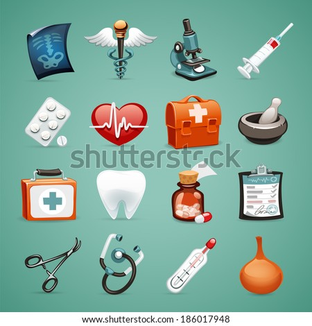 Medical Icons Set1.1 In the EPS file, each element is grouped separately. - stock vector