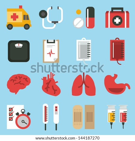 medical  icons set, minimal design vector. - stock vector