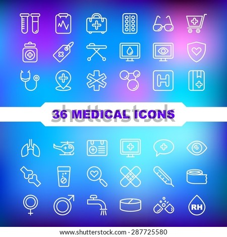 Medical Icons set on blue background. - stock vector