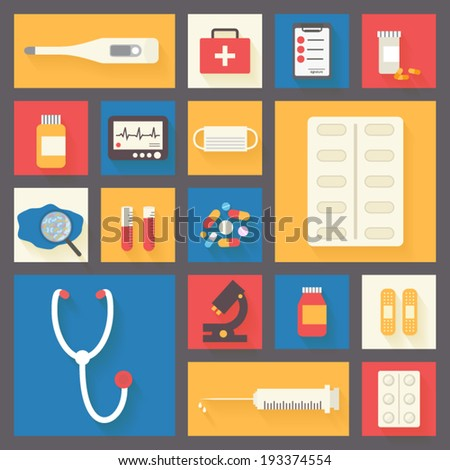 Medical icons set: stethoscope, cross, pills, microscope, ECG monitor, microbes, plaster and syringe. Healthcare infographic elements. Vector illustration. - stock vector