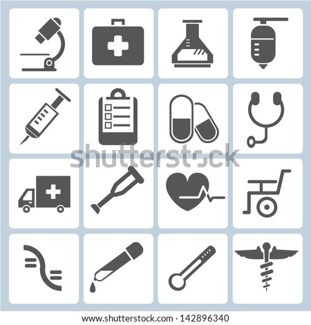 medical icons set, vector - stock vector