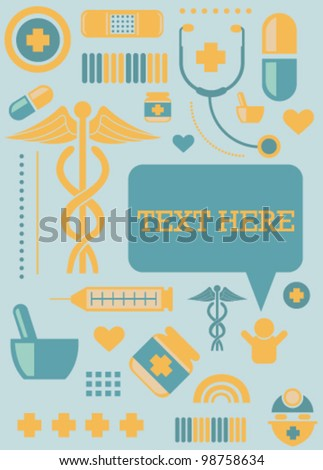 Medical Icons Template Card Frame - stock vector
