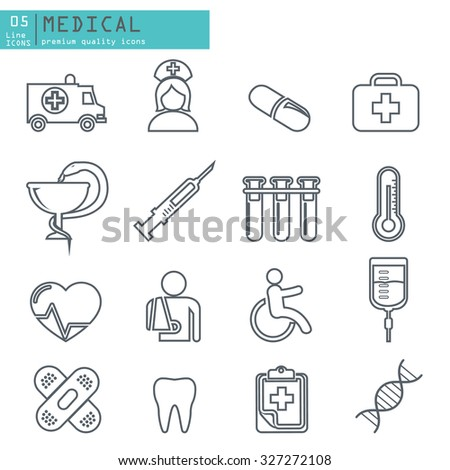Medical Icons thin line icons set - stock vector