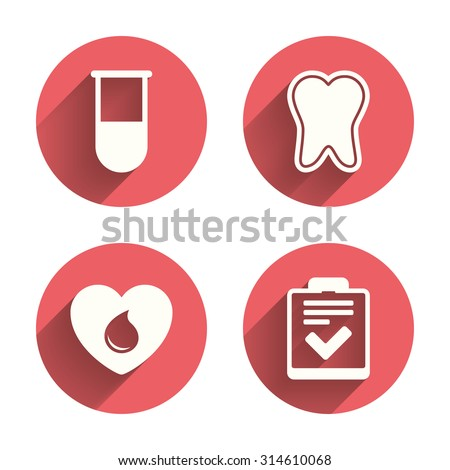 Medical icons. Tooth, test tube, blood donation and checklist signs. Laboratory equipment symbol. Dental care. Pink circles flat buttons with shadow. Vector - stock vector