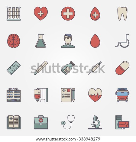 Medical Icons Vector Colorful Health Care Stock Vector 2018