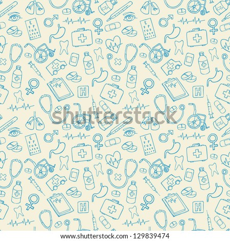 Medical icons vectors seamless pattern - stock vector