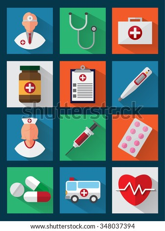 Medical icons with long shadows. Health care, Pills, Cross Symbols. Design elements. Flat design. Vector Illustration