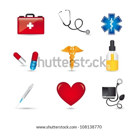 medical icons with shadow over white bacgkround. vector illustration - stock vector