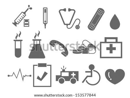 Medical Icons with White Background - stock vector