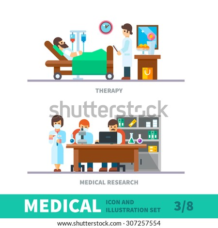 Medical illustration of the recovery after fracture clinic. Department of surgery, plastered after surgery in bed, medical research in the laboratory, Vector flat illustration and icon set - stock vector