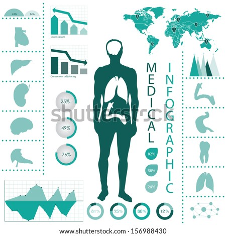 Medical info graphic.. Human body with internal organs  - stock vector