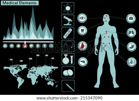 Medical info graphics. Human body with internal organs. Vector illustration. - stock vector