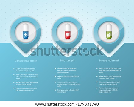 Medical infographic background design with different symbols - stock vector