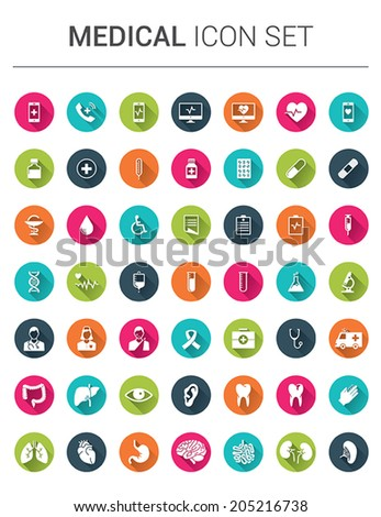 Medical infographic icon set in colorfull circles with shadows - stock vector
