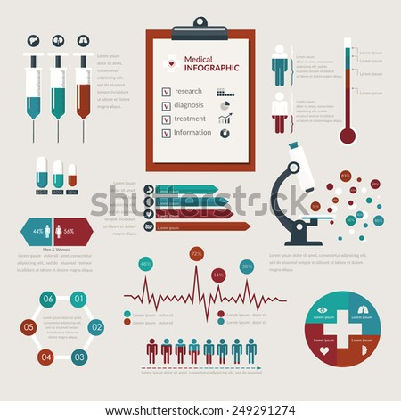 Medical Infographic set in flat style. Healthcare and medical concept. Vector illustration - stock vector