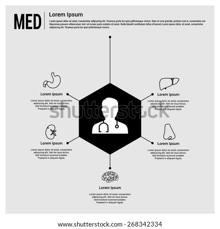 Medical infographics. Doctor connected with body parts health care infographics template. Human body organs icon connected with doctor. Disease Specialists. Gray Background - stock vector