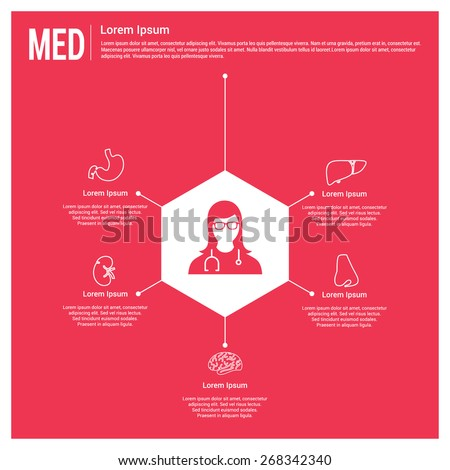 Medical infographics. Lady Doctor connected with body parts health care infographics template. Human body organs icon connected with doctor. Disease Specialists. Pink Background - stock vector