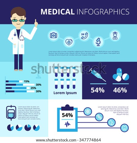 Medical infographics with doctor in white coat emergency care icons statistics and graphs vector illustration - stock vector