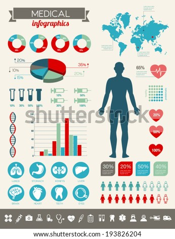 Medical infographics with many vector icons and various charts. - stock vector