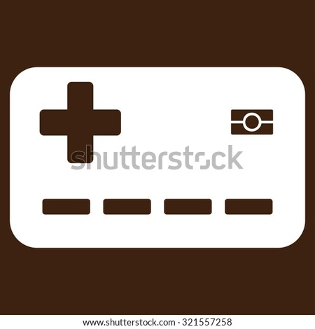 Medical Insurance Card vector icon. Style is flat symbol, white color, rounded angles, brown background.