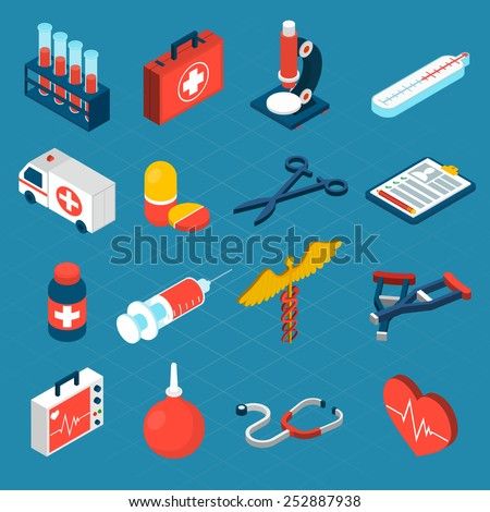 Medical isometric icons set with first aid kit ambulance syringe isolated vector illustration - stock vector