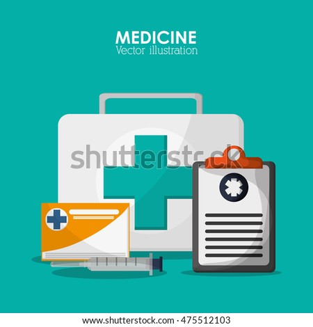 medical kit checklist health care hospital icon. Colorful design. Vector illustration