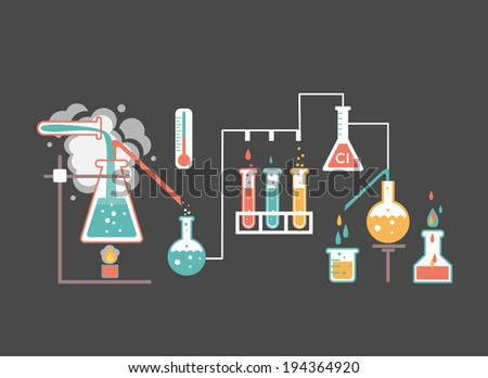 Medical laboratory infographics depicting a chemical solution boiling over a bunsen burner distilling into a flask linked to glassware and biochemical tests and research  colorful vector illustration - stock vector