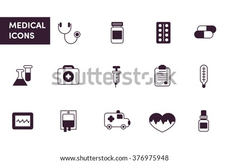 Medical line icons black and white